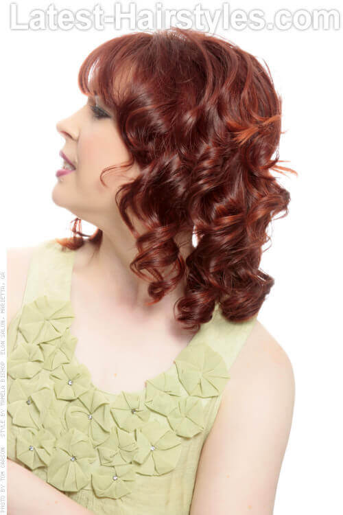 Deep Red Haircolor with Copper Highlights Side