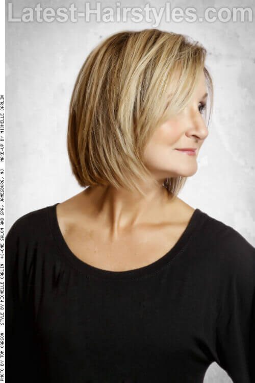 Golden Toned Lob Hairstyle Side