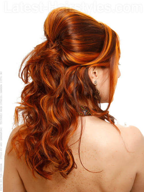 Cute Half Updo with Side Part and Bump Back View