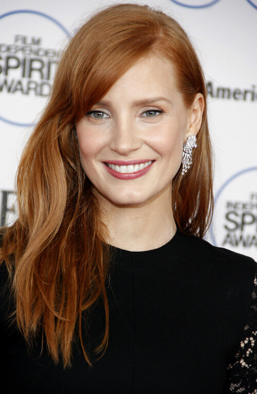 Jessica Chastain Long Hairstyle with Side Part