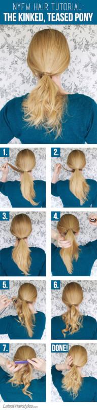 NYFW Hair Tutorial: The Kinked, Teased Ponytail