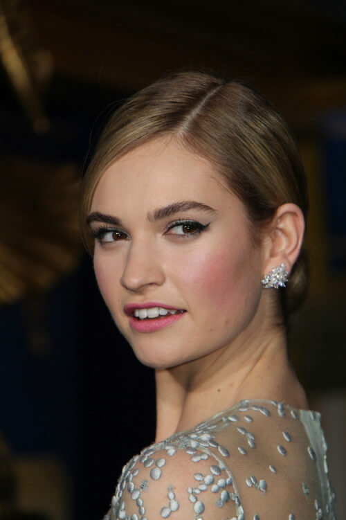 Lily James Chignon Spring Hairstyle
