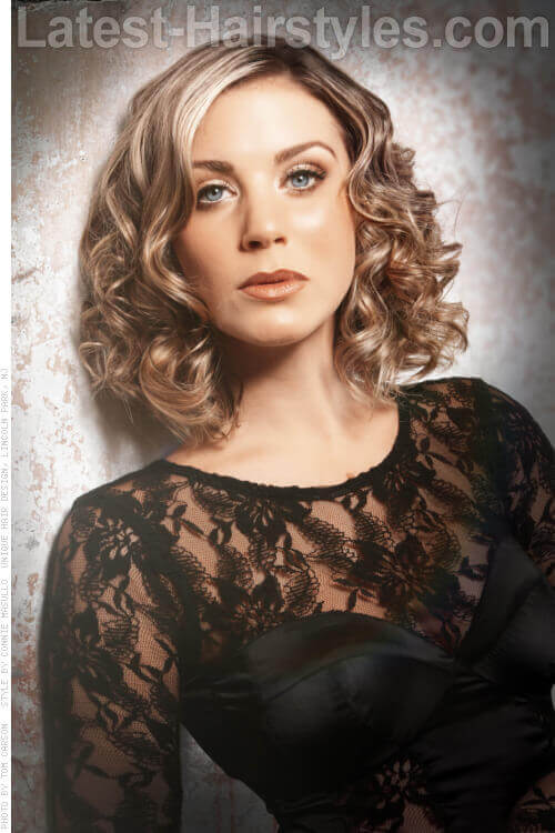 Long Bob Curly Hairstyle for Spring