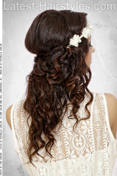 Long Curly Hairstyle with Floral Crown Back