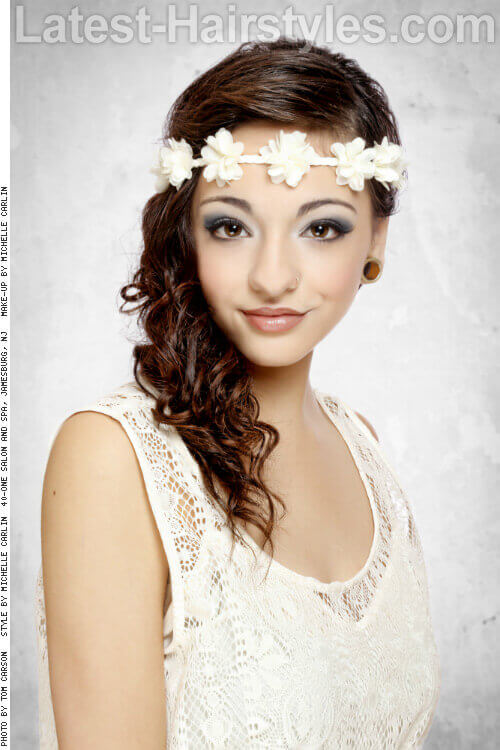 Long Curly Hairstyle with Flower Headpiece
