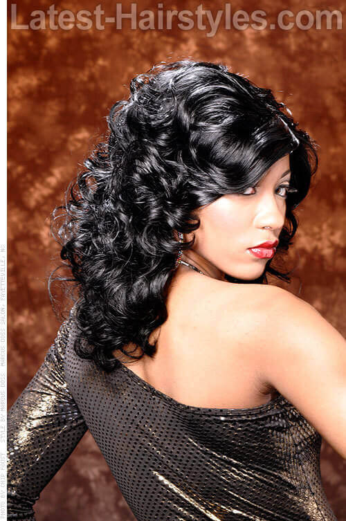 Long Curly Hairstyle with Volume and Side Swept Fringe Back