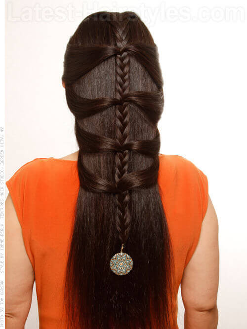 Long Hairstyle with Braid and Charm