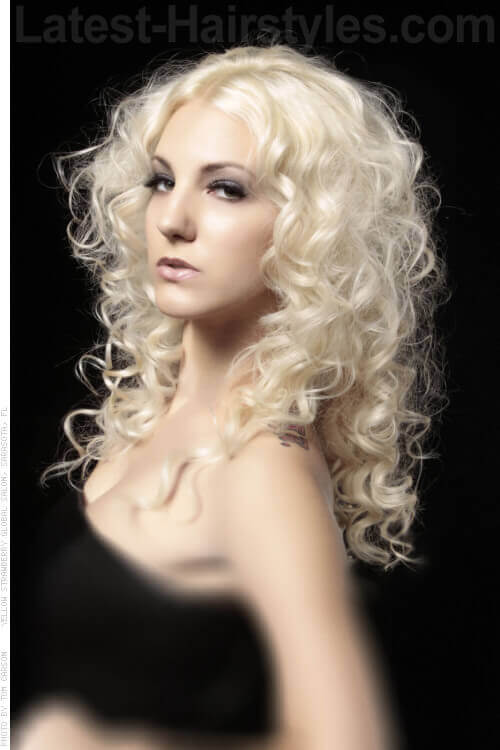 Long Softly Curled Hairstyle with Volume Side