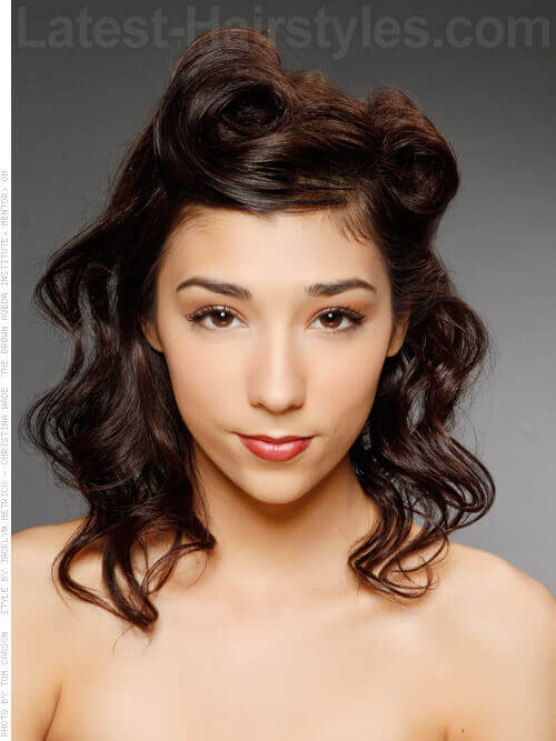 Modern Cute Prom Hairstyle with Victory Rolls and Waves