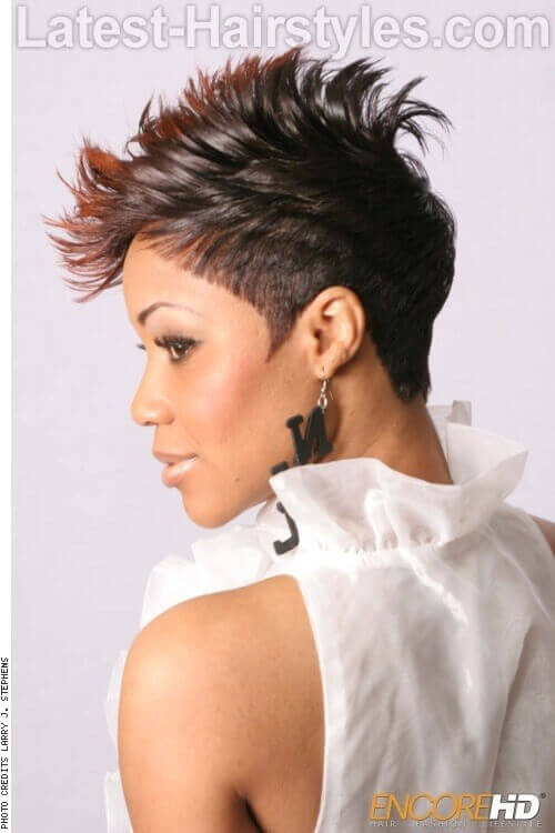 Ombre Pixie Cut with Mohawk Finish Side
