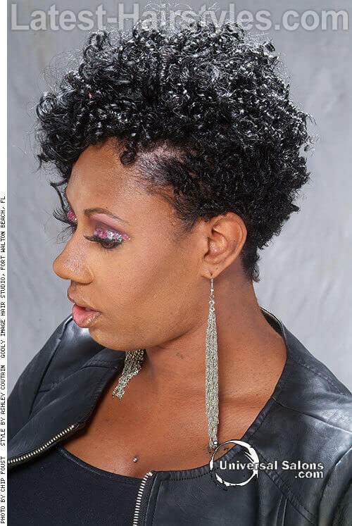 Short Curly Cropped Hairstyle Side