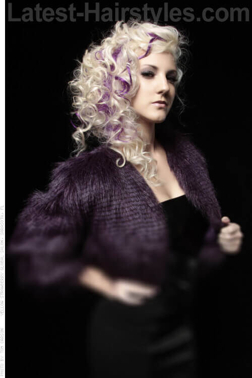 Side Swept Curly Hairstyle with Orchid Highlights