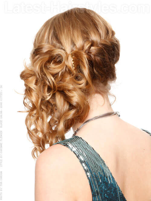 Side Swept Cute Prom Hairstyle with Braid Back View