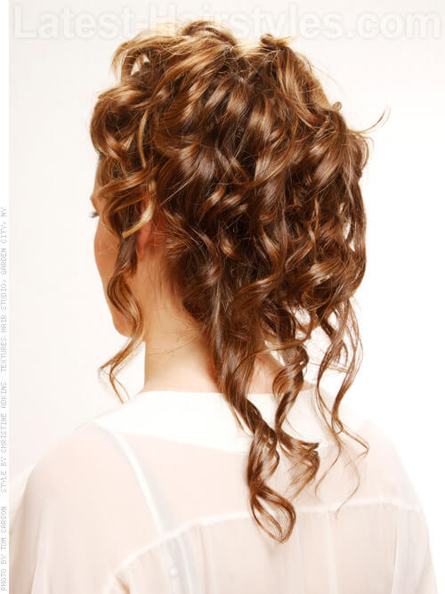 Softy Curled Updo with Daisy Accents Back