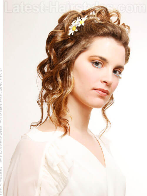 Softy Curled Updo with Daisy Accents