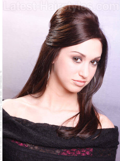 Straight Simple Hairstyles For Prom with Teased Crown