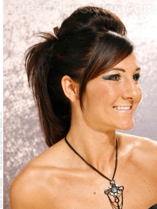 Straight Teased Ponytail with Fringe