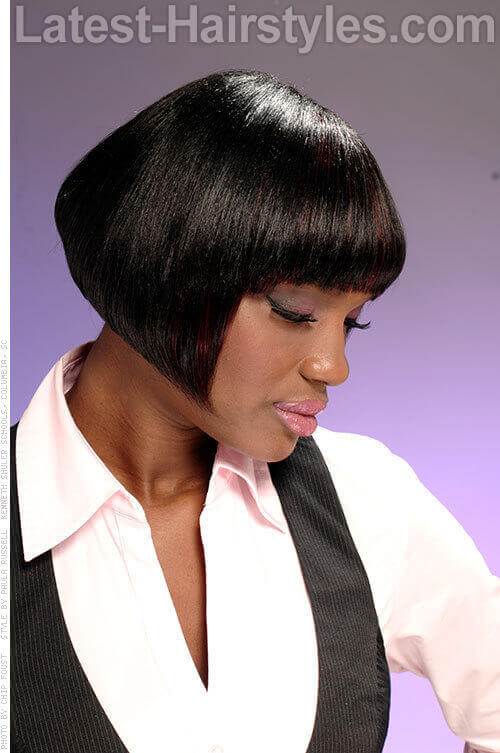Striking Bob Cut with Fringe Side View