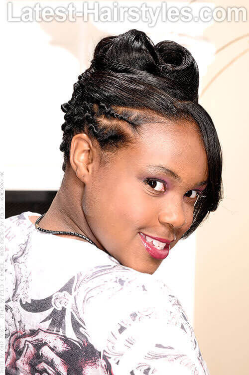 fancy pants prom hairstyle for black girls