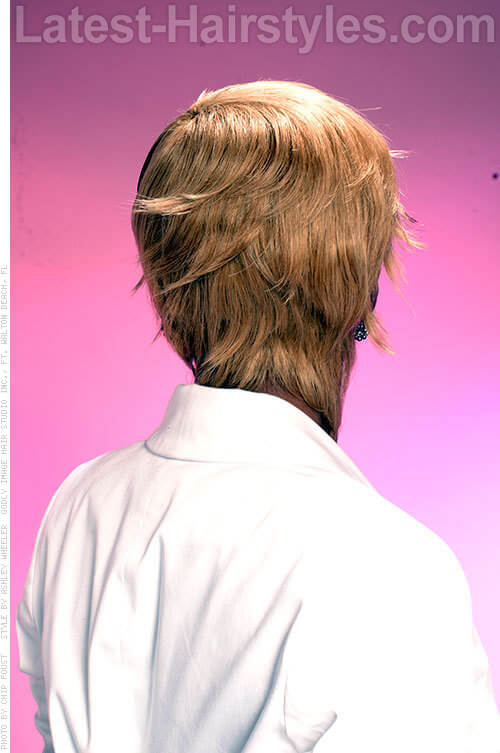 Flipping Out Hairstyle with Fringe Back View