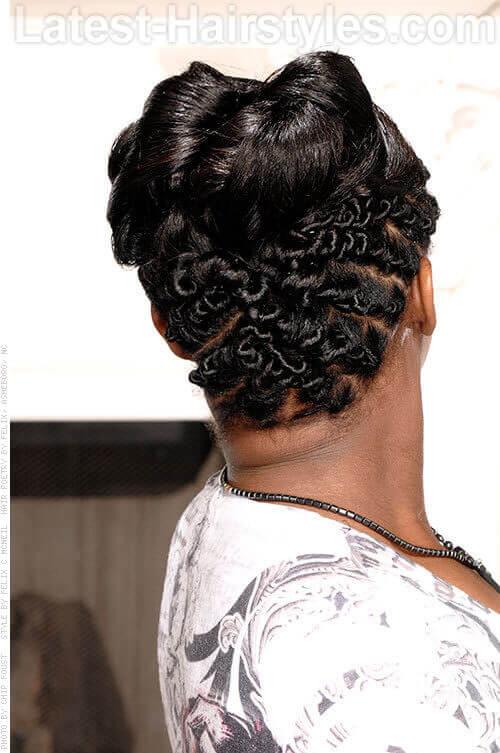 high bun with intricate twists