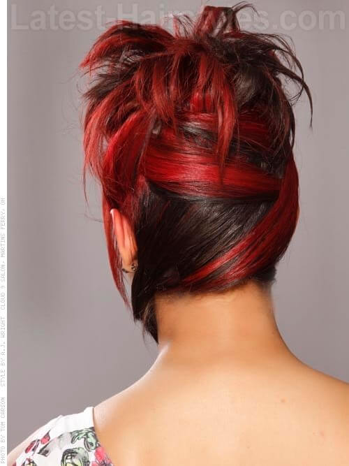 Seeing Red Pretty Updo With Fringe Back View