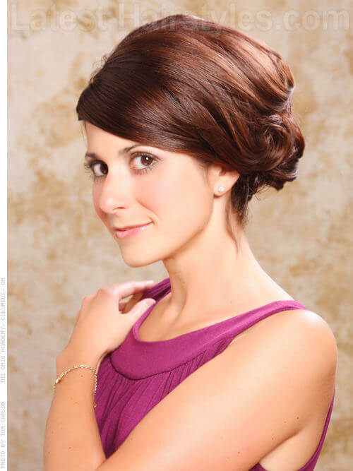 Best Curled Updo with Side Part Front View