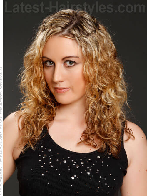 Best Curly Hairstyle with Halo Braid