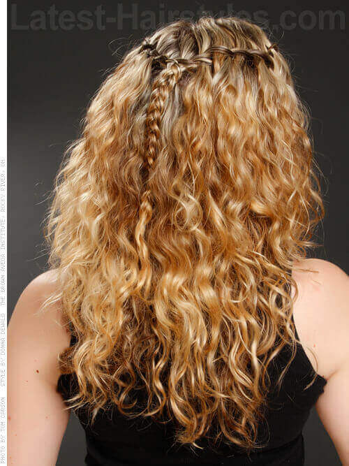 Curly Hairstyle with Waterfall Braid Back View