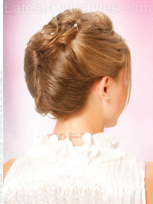Double Twist Bridal Updo with Accessory Back View