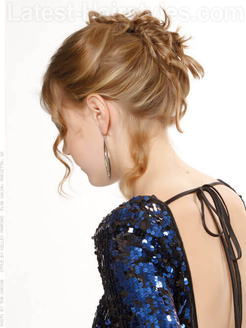 Fishtail Braid Updo with Texture Side View