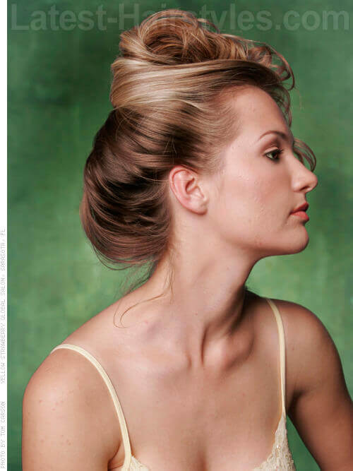 French Twist with Soft Flowing Curls Side View