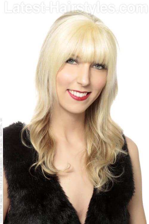 Long Blonde Hairstyle with Face Framing Fringe
