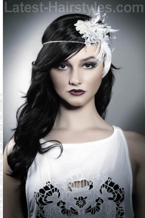 Best Long Dark Hairstyle with Flowered Headband