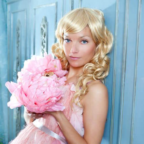 Long Golden Blonde Hair with Side Swept Fringe