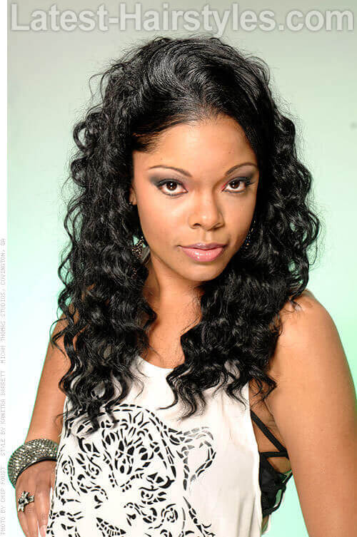 Long Black Hairstyle with Crimpy Curls