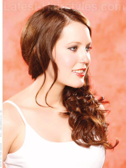 Long Understated Side Swept Hairstyle Side View