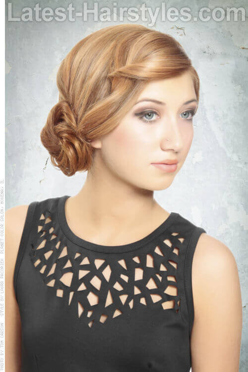 Low Side Bun Hairstyle with Embellished Hairline