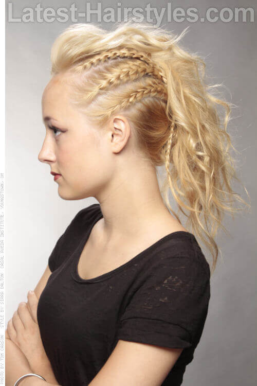 Mohawk Hairstyle with Side Braids Side View