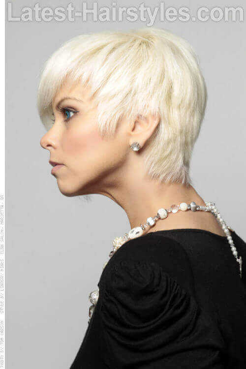 Platinum Blonde Cute Cropped Hairtstyle With Shine Side View