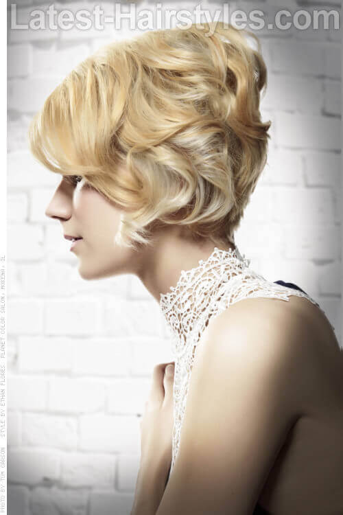 Retro Chick Short Hairstyle with Waves Side View