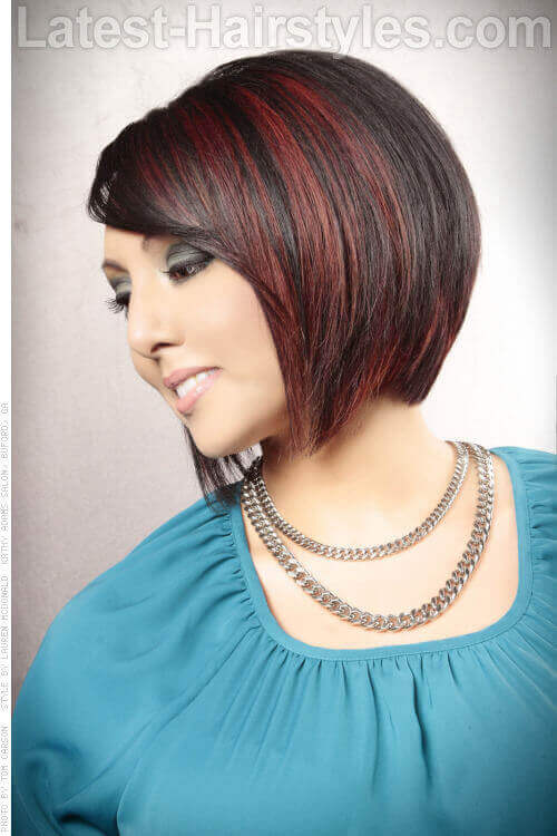 Short Angled Cute Bob Hairstyle with Highlights Side View