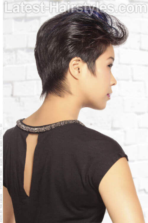 Short Funky Hairstyle with Blue Highlights Back View