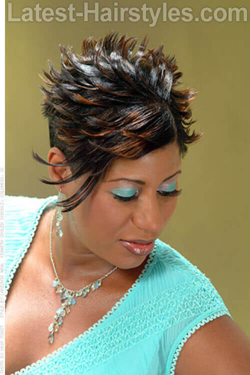Short Hairstyle with Flipped Ends and Blonde Tips
