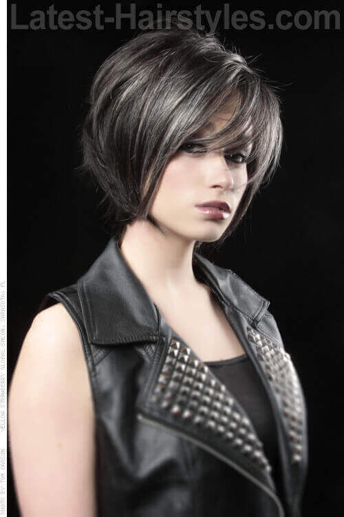 this is a short haircut with longer layers and a long sexy fringe ...