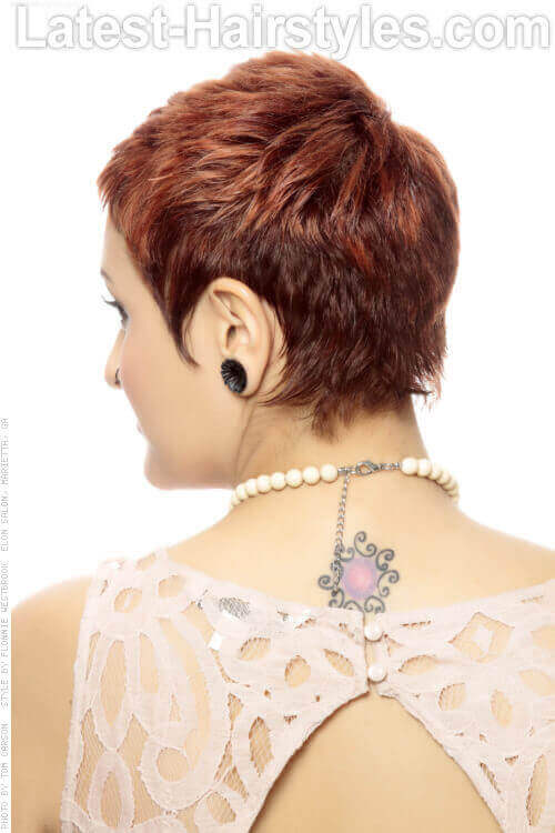 Short Wavy Cute Hairstyle with Copper Tones Back View