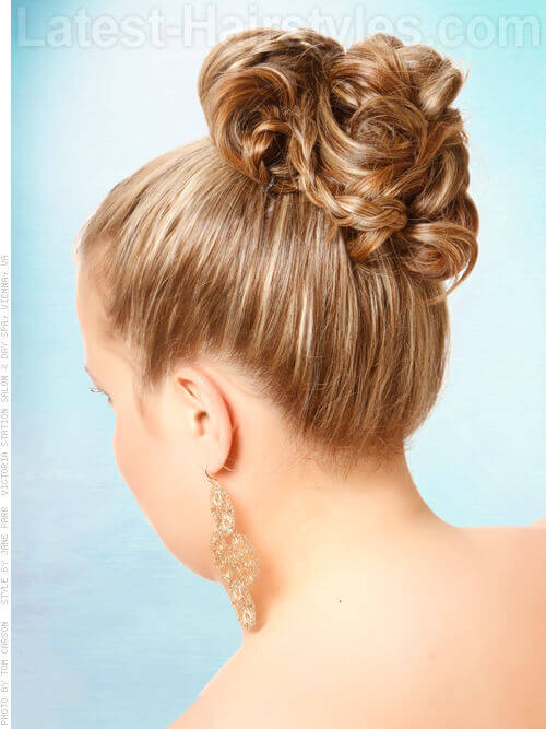 Simple Curled Sleek Updo for Brides Back View