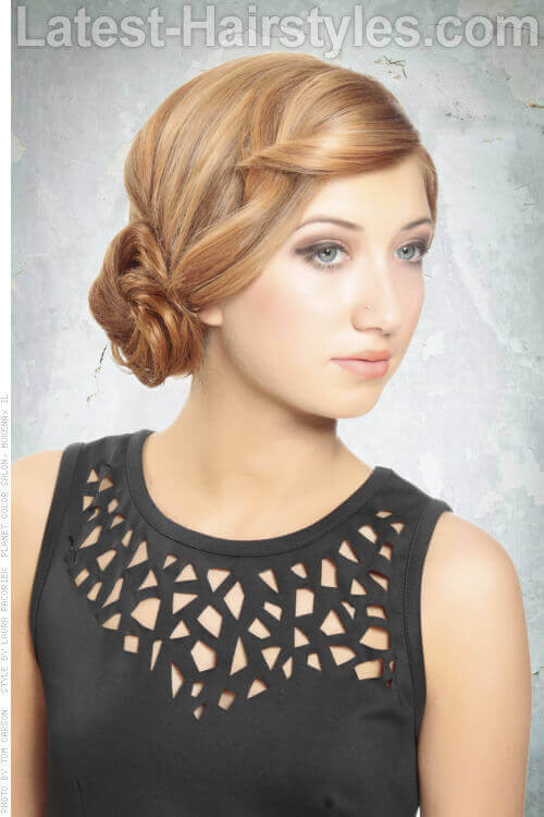 Simple Low Side Bun Updo with Fringe