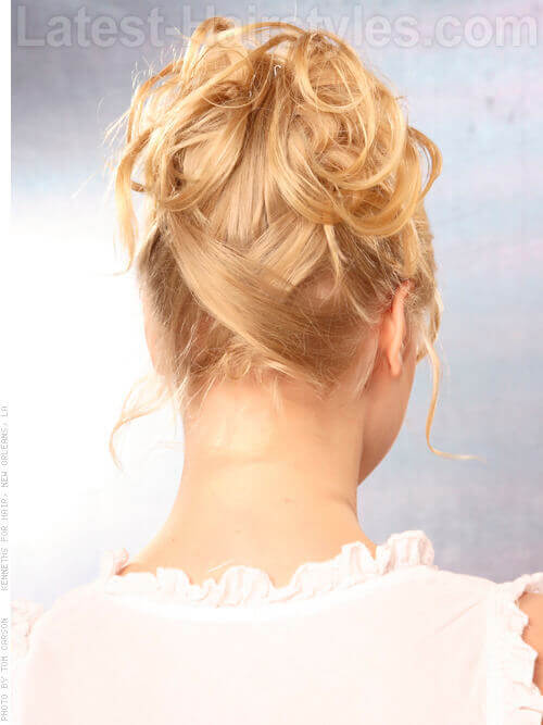 Soft Bridal Hairstyle with Curls and Crossed Back Back View