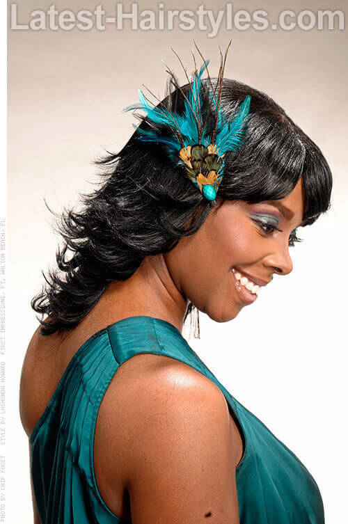 Adorable feathered hair for black women